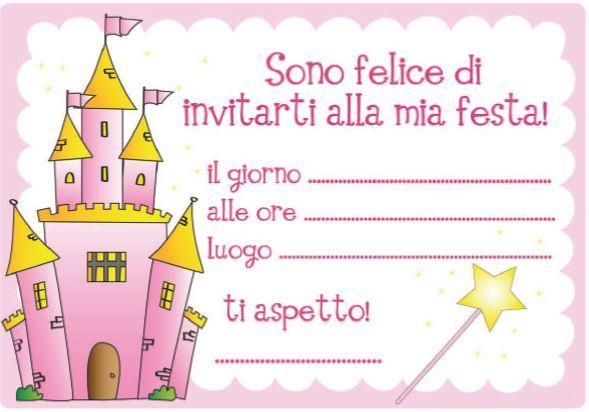 Ben noto INVITI-ALLA-FESTA castello rosa mod - Bimbi di Carta EK32