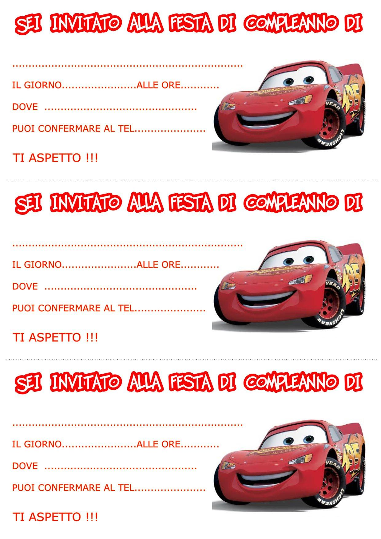 Molto biglietti-invito-compleanni-cars mod - Bimbi di Carta WX69