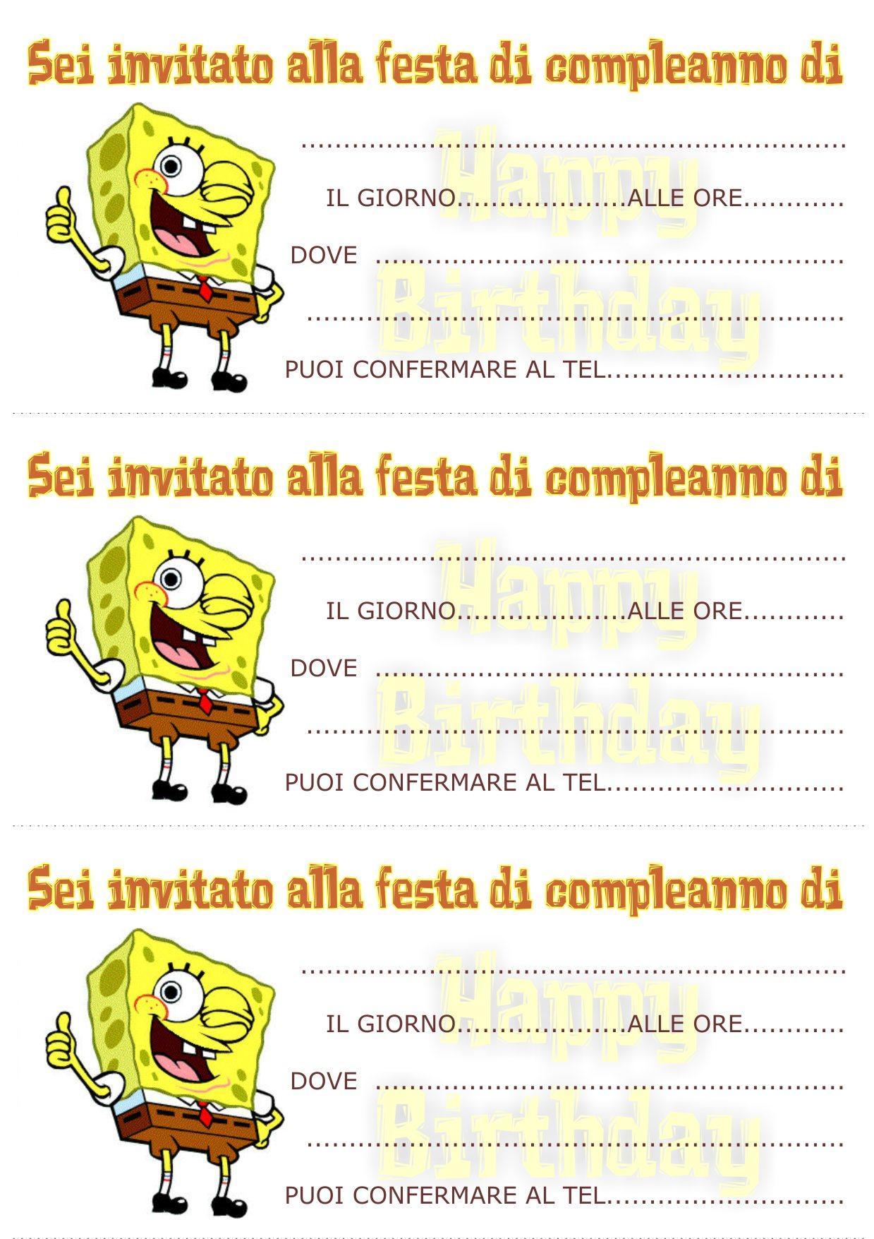 Molto biglietti-invito-compleanno-spongebob mod - Bimbi di Carta FQ15