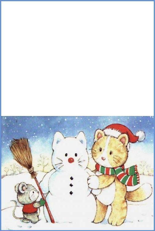 biglietto natalizio gatto e topo