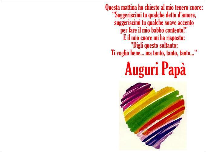 Festa Papà Cuore E Frase Mod Bimbi Di Carta