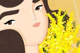 immagine donna e mimosa
