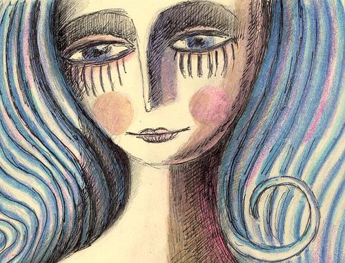 volto donna capelli azzurri poesia