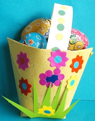 cestino-uova giallo origami