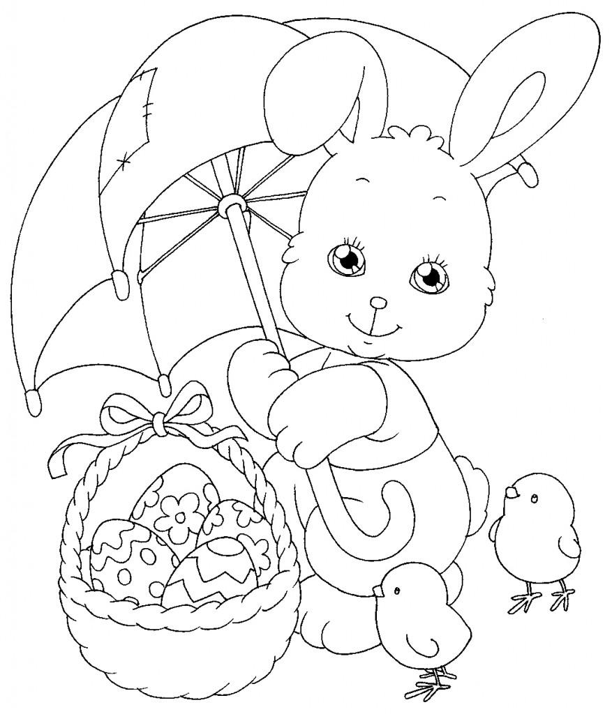 coniglio ombrello da colorare