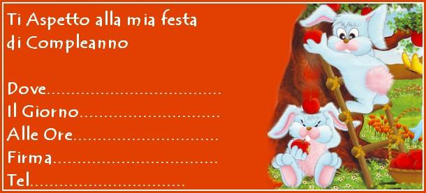 invito coniglietti arancione