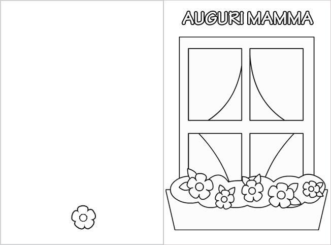 Biglietti tutti da colorare per la mamma bimbi di carta for Disegno una finestra testo