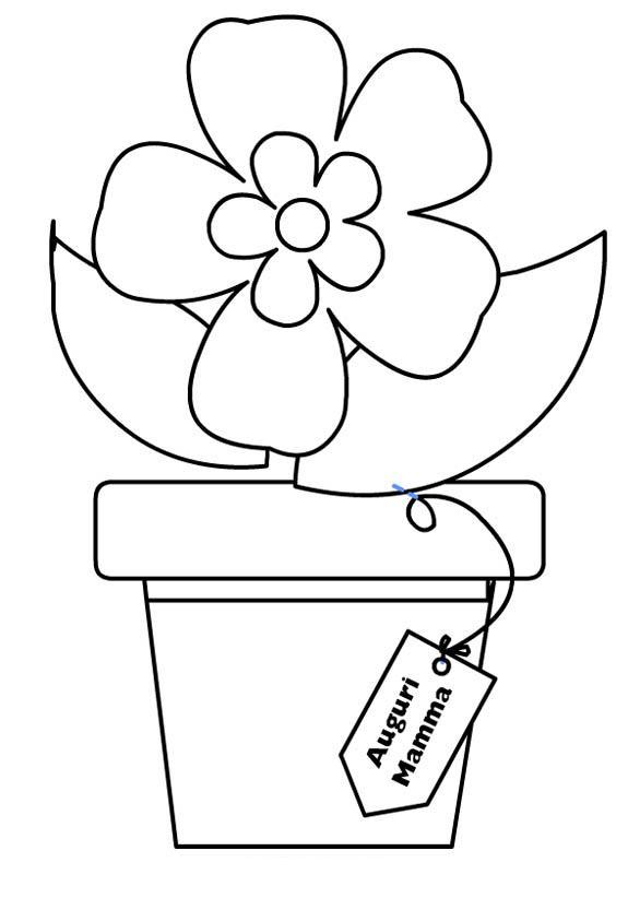 Biglietti tutti da colorare per la mamma bimbi di carta for Disegno vaso da colorare