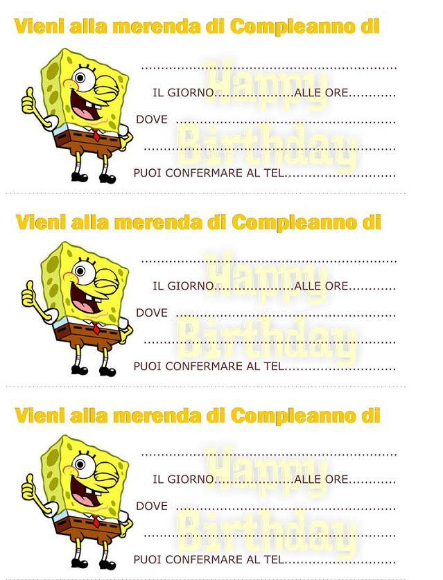 Linvito Per La Merenda Di Compleanno Di Spongebob Bimbi Di Carta