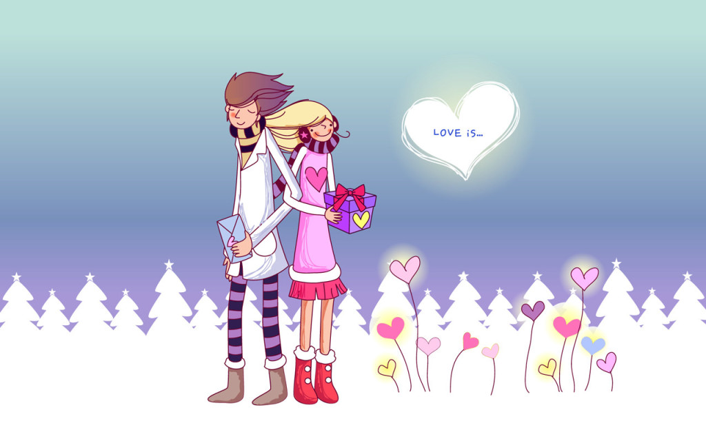 innamorati sulla neve
