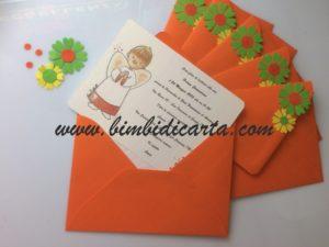 Emozione arancione negli inviti per la Prima Comunione di Luca
