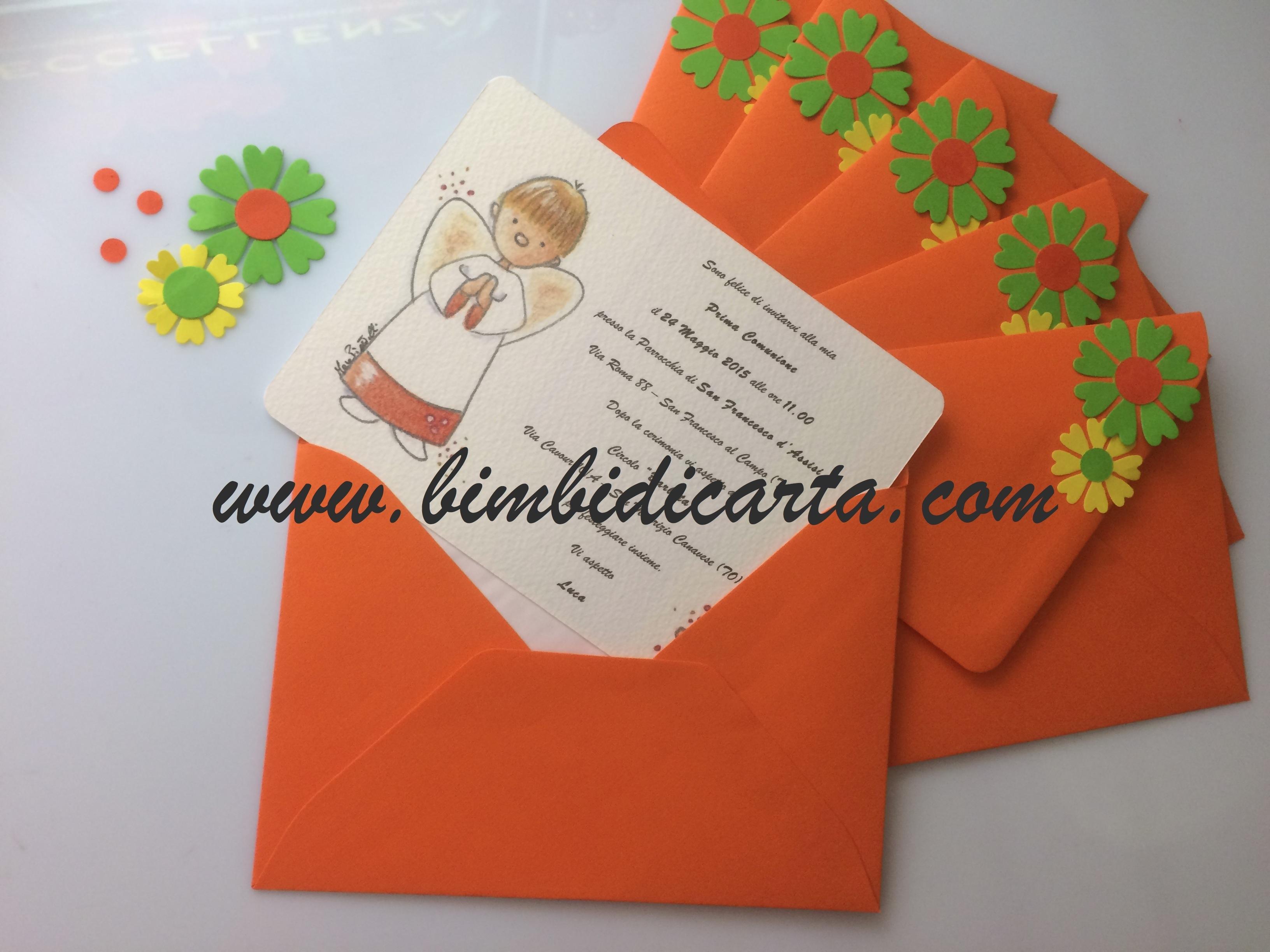 Ben noto Emozione arancione negli inviti per la Prima Comunione di Luca  OR97