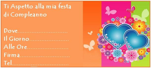 invito arancione cuore e farfalle