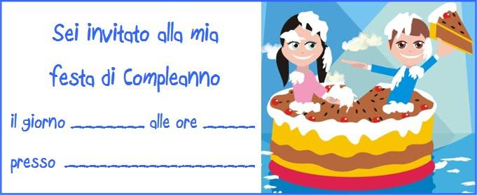 InvitoCompleanno bambini sulla torta