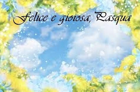 biglietto pasqua fiori gialli sfondo blu